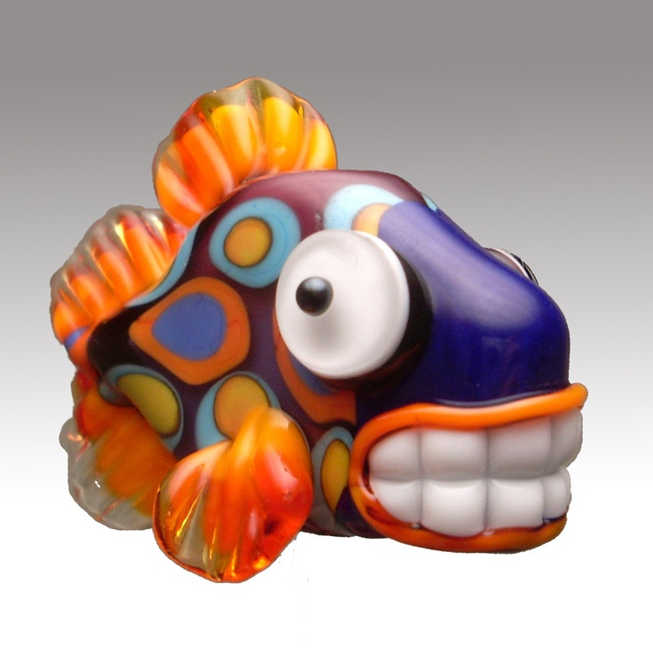 Toothy Fish Beads by glass artist Cathy Lybarger