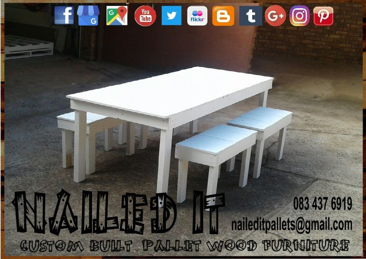Pallet wood outdoor table & benches. 4 seater. White paint finish. Perfect for the patio. #palletoutdoorfurniture #palletpatiofurniture #palletpatioset #palletpatiotable #palletoutdoorsetting #naileditcustombuiltpalletfurniture #naileditpalletfurniture #nailedcustompalletfurniture #custompalletfurnituredurban #palletfurnituredurban