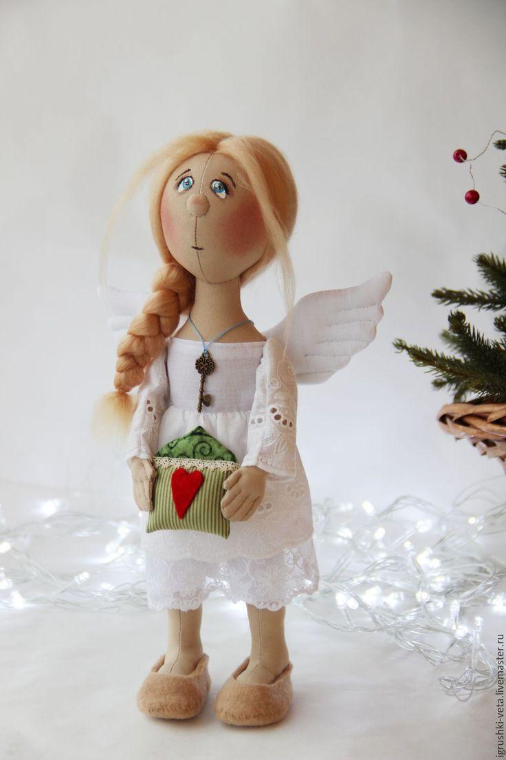 """Купить Ангел """"Дом там, где сердце..."""" - белый, зеленый, ангел, ангел-хранитель"""