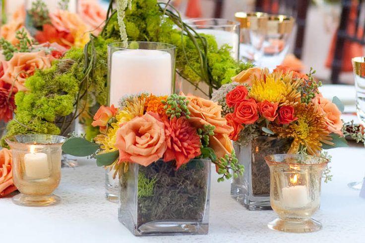 Les détails d'un mariage en vert et orange C'est Martha Stewart qui propose…