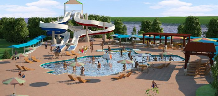 The water park will feature a water zone that is opening on the Fourth of July weekend and will feature 2-200 ft waterslides, a splash pool, activity pool, paddle boards, kayaks and swimming.