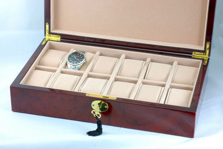 New High Glossy Piano Finished Wooden Watch Box Storage Case - Dark Cherry 001A