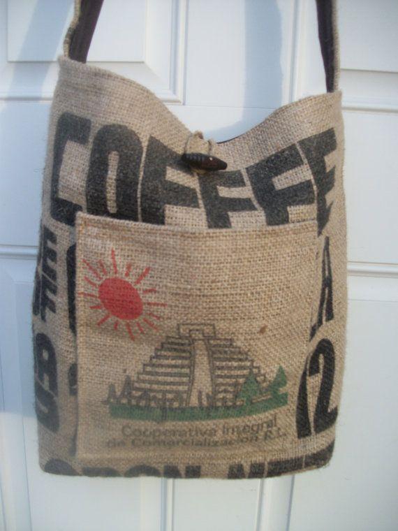 Crossbody messenger Upcycled coffee bean burlap bag by Dottada, $35.00