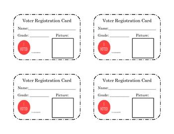 The file contains a page with 4 voter registration cards for your students to fill out during their study of election day.  Students will add their name, grade, and a self-portrait.  At my school, we are using them when our Kindergarten through Second grade classes vote for their movie party.