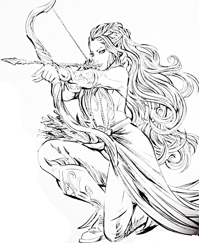 Elf warrior coloring page sketch coloring page for Coloring pages of elves