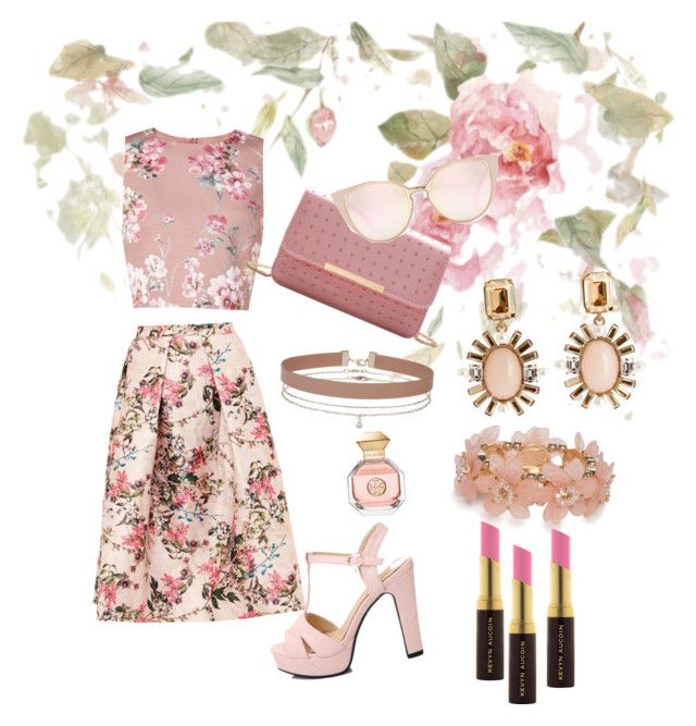 """""""Flowers"""" by emma-rose-tokach ❤ liked on Polyvore featuring Ted Baker, Oscar de la Renta, Miss Selfridge, Tory Burch, New Directions and Kevyn Aucoin"""