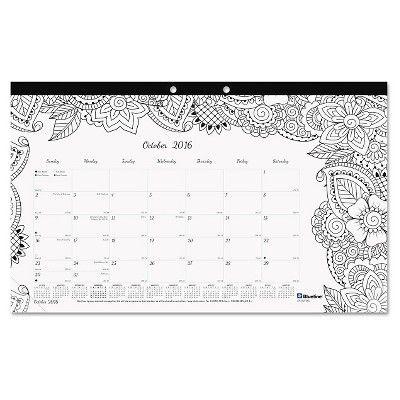 Blueline Academic DoodlePlan Desk Pad Calendar with Coloring Pages,17 3/4 x 10 7/8, 2016-2017, Black