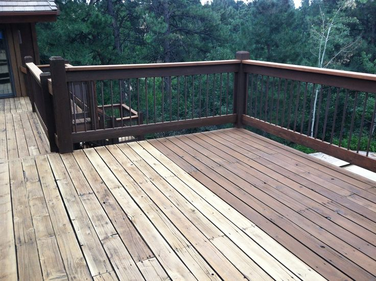 Cabot deck stain in semi solid bark mulch half stained best deck stains pinterest barking f c for Cabot s exterior stain colours