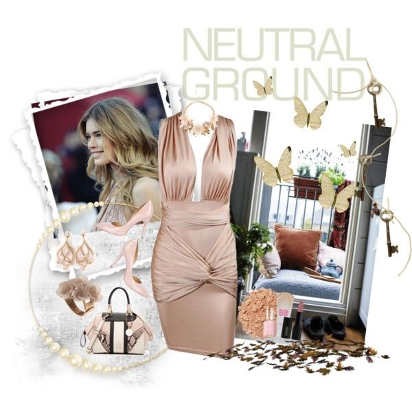 NEUTRAL GROUND by diaparsons on Polyvore featuring Charlotte Olympia, GUESS, Oscar de la Renta, Shaun Leane, Illamasqua, Maybelline, INIKA and Essie