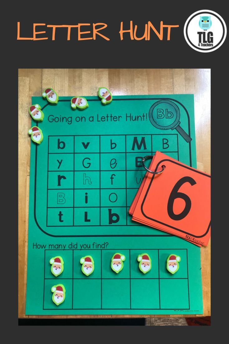 Letter Hunt Letter Identification And Counting Activity Preschool Math Centers Math Centers Kindergarten Preschool Letters