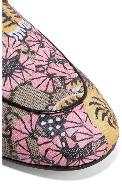 Gucci - Princetown Printed Coated-canvas Slippers - Beige - IT36.5