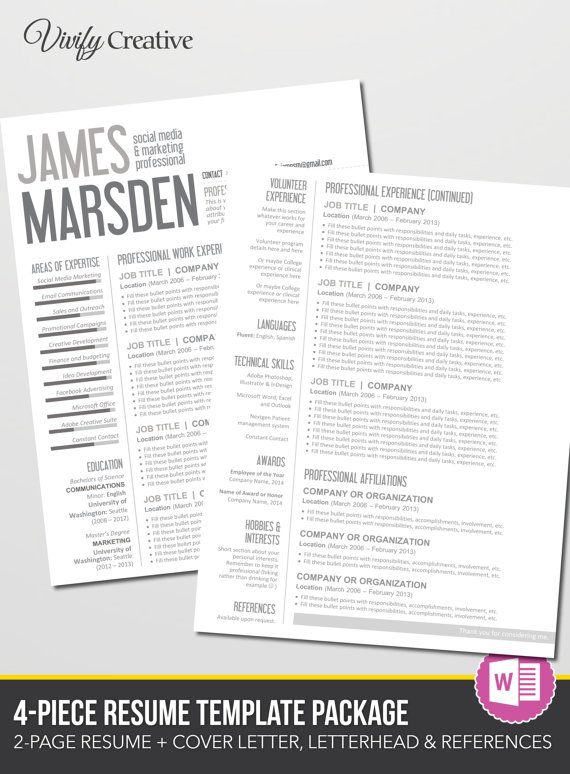 27 best Professional images on Pinterest Resume design, Design - how to format a resume on microsoft word