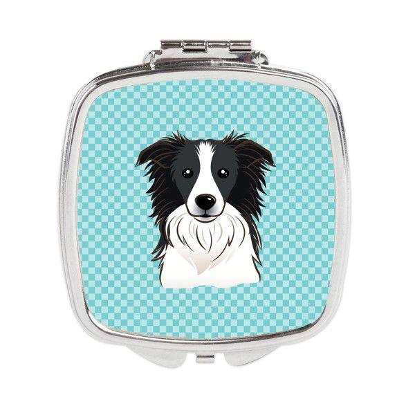Checkerboard Blue Border Collie Compact Mirror BB1179SCM