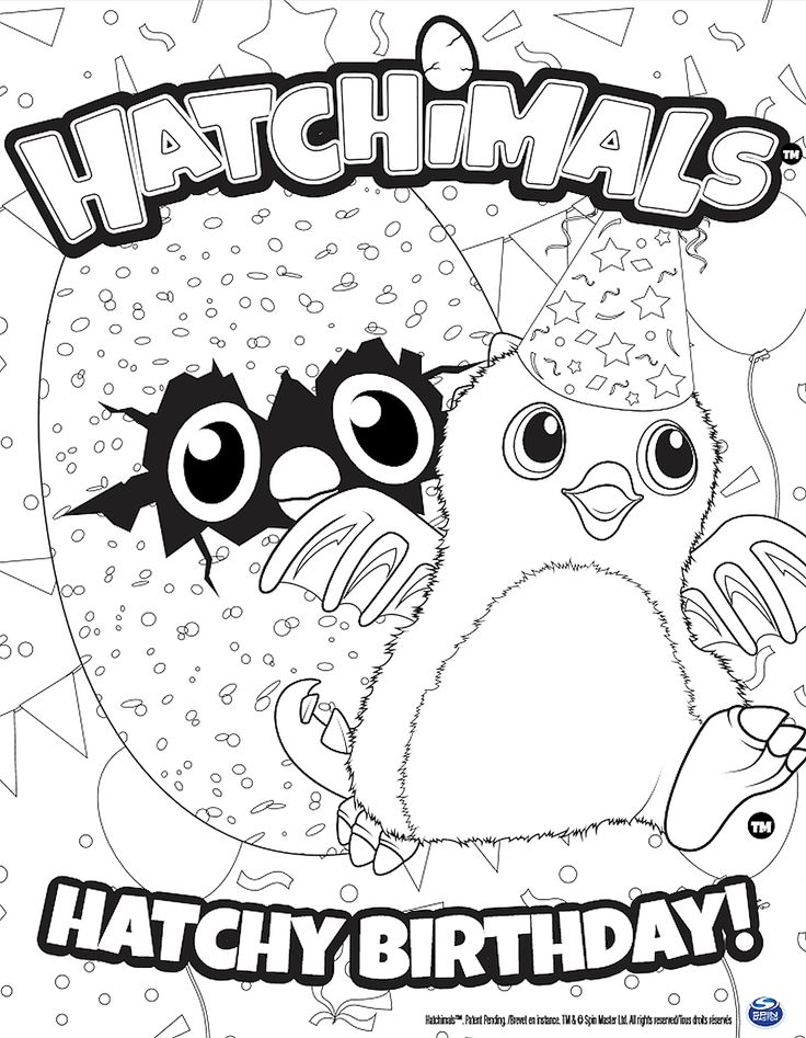 Hatchimals Hatchy Birthday Coloring Page Click the