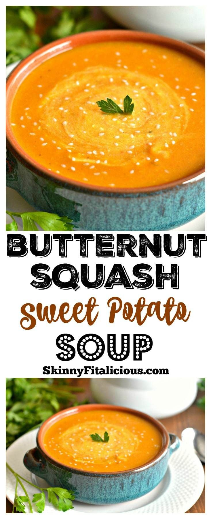 Nothing like a warm, comforting bowl ofveggie packed soup on a cold day. This nutritious Butternut Sweet Potato Soup is loaded with vitamins A & C. A healthy & delicious bowl that's gluten free, Paleo, low calorie & Vegan too!