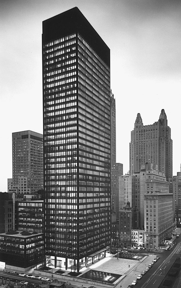 Seagram Building, Park Avenue, New York, 1958. Architects: Mies van der Rohe designed the structure + Philip Johnson designed the lobby and other internal spaces.