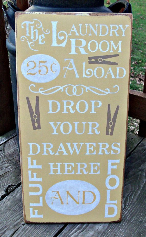 Large Wood Sign  Laundry Room 25 cents a by BedlamCountryCrafts, $40.00