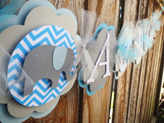 banner baby shower banner blue and gray new baby elephant banner
