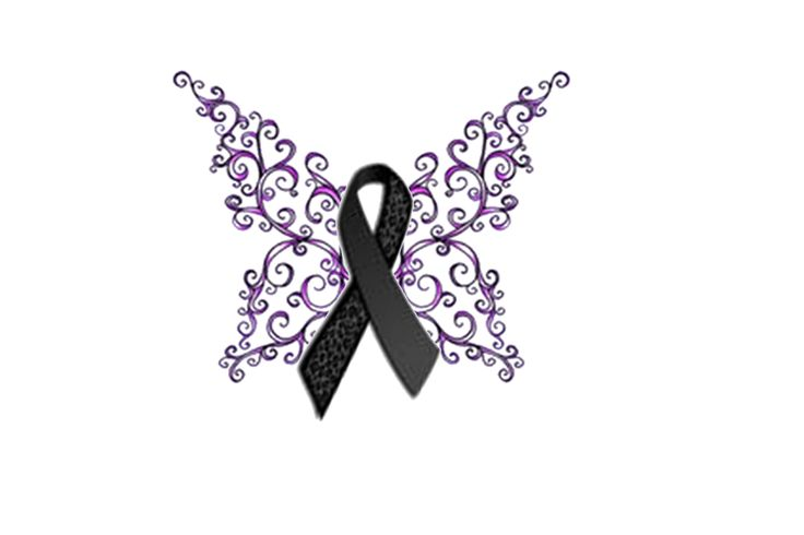 Melanoma Ribbon Butterfly