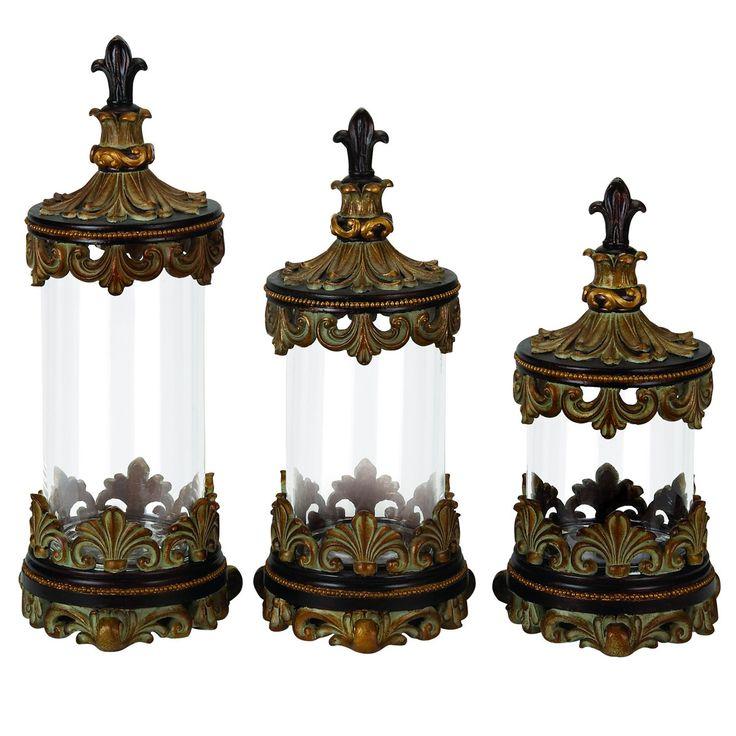 urban 3 piece fleur-de-lis glass cylinder canister set   glass canister set, decorative kitchen