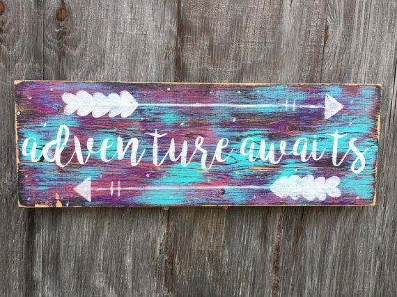 Adventure Awaits Sign, Reclaimed Wood Boho Bedroom Decor, Bohemian Girls Room, Galaxy Wall Art, Cursive Signage, Inspirational Nursery
