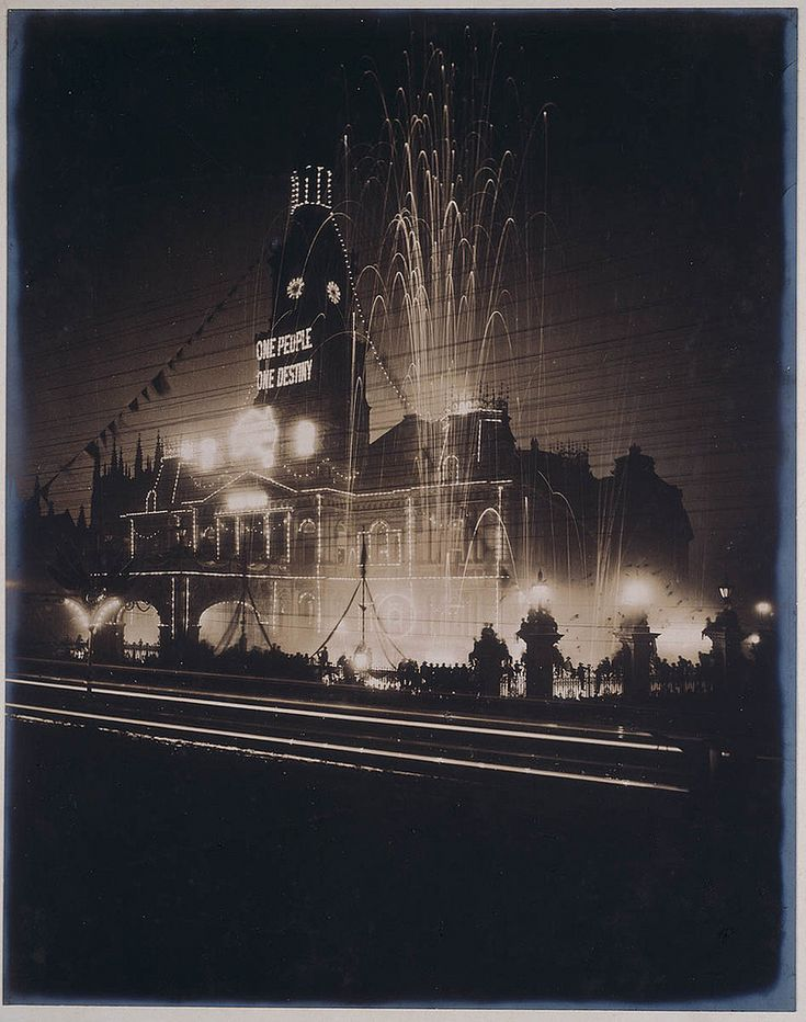 The Sydney Town Hall illuminated at night for the Inauguration of the Commonwealth of Australia, 1901