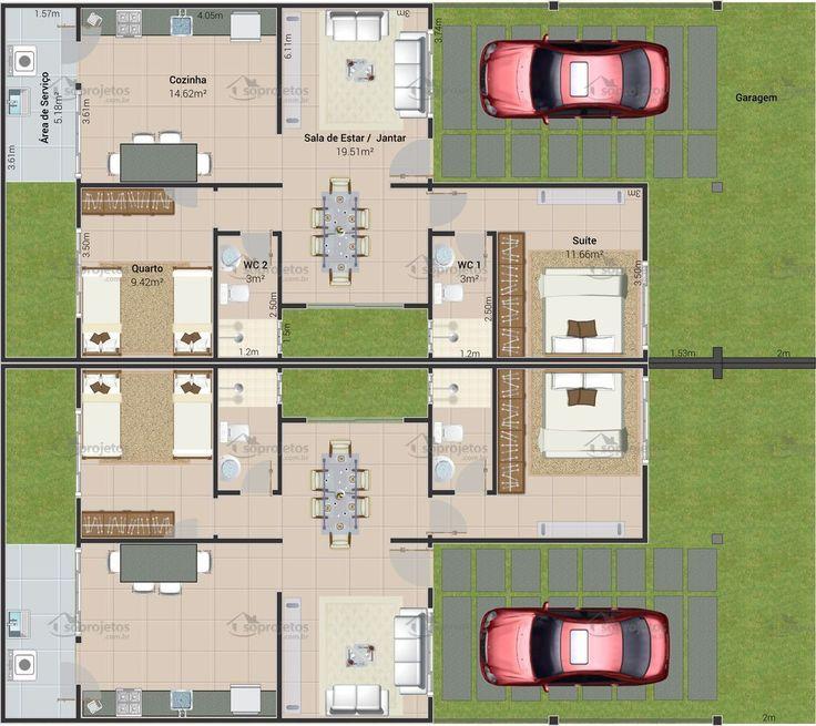Die besten 25 projetos de casas geminadas ideen auf for Minimalistisches haus grundriss