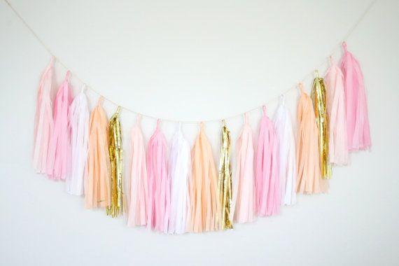Pink, Peach, Blush, and Gold Tassel Garland -Peach Party Decor, Peach Baby Shower Peach Birthday Party, Peach Nursery Decor, Peach Cakesmash