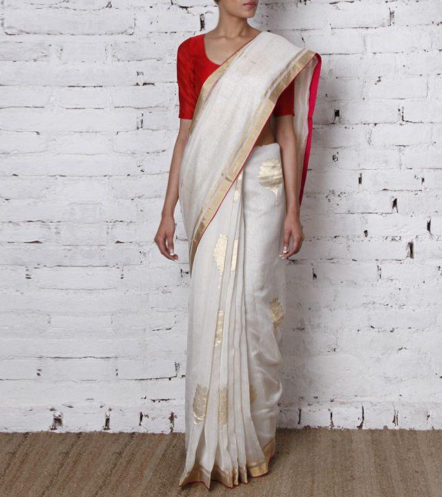 Cream Gurjari Handwoven Chanderi Cotton Silk Saree