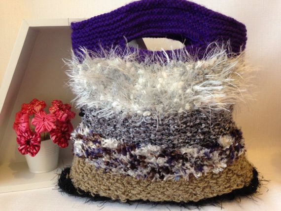 Shades of Winter Knitted Handbag by ByDebz on Etsy