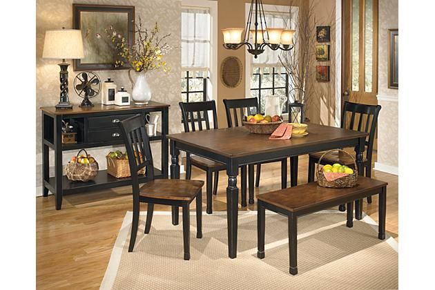 Black brown owingsville dining room table by ashley - Ashley wilkes bedroom collection ...