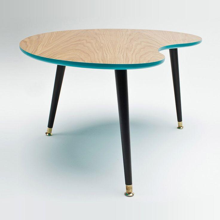 Журнальный стол «Почка» дерево/бирюзовый/чёрный