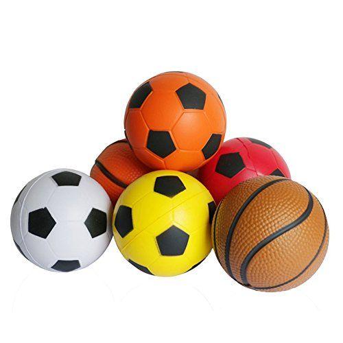 awesome 6 Piezas Mini Espuma Baloncesto Fútbol Softbol de Conjunto Partido de la Bola del Juego Deportes Estrés Exprimir de las Bolas de Juguete para niños