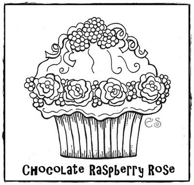 Cupcake Colouring Page Nice For Embroidery Redwork Too