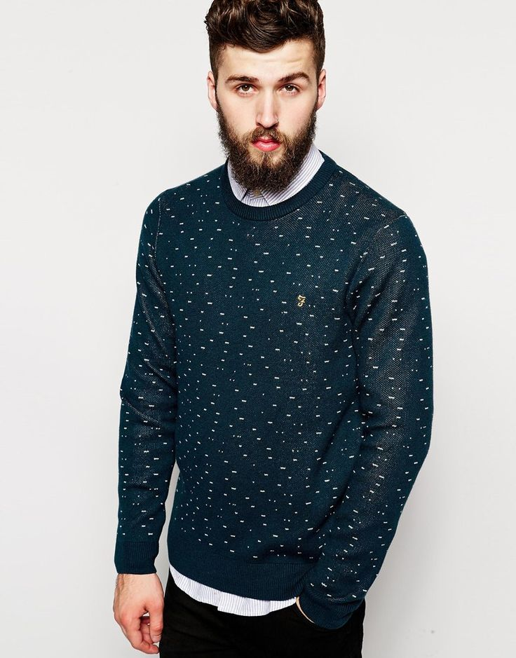 Farah Jumper with Fleck Jacquard Pattern in Regular Fit