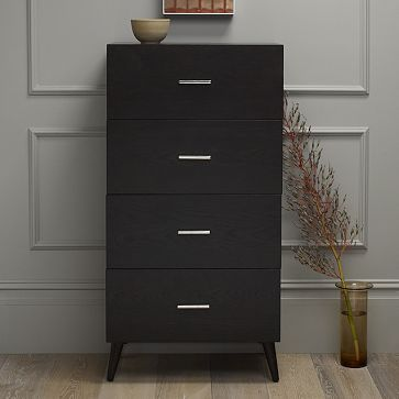 Adams 4-Drawer Dresser - Chocolate but we could milk-paint it white if the chocolate reads to dark.