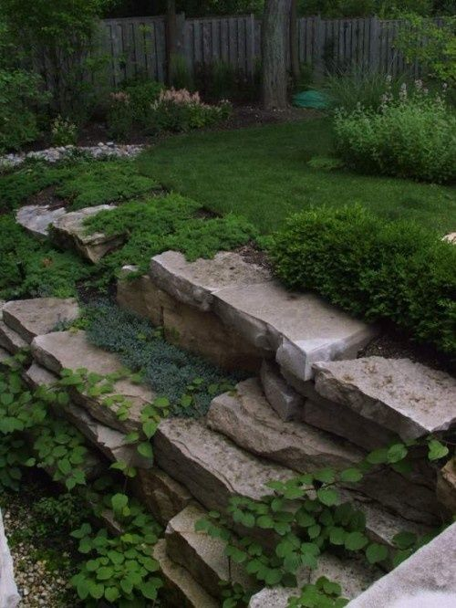 Landscape Stone Ground Cover : Hillside landscaping hillsidelandscaping staggered
