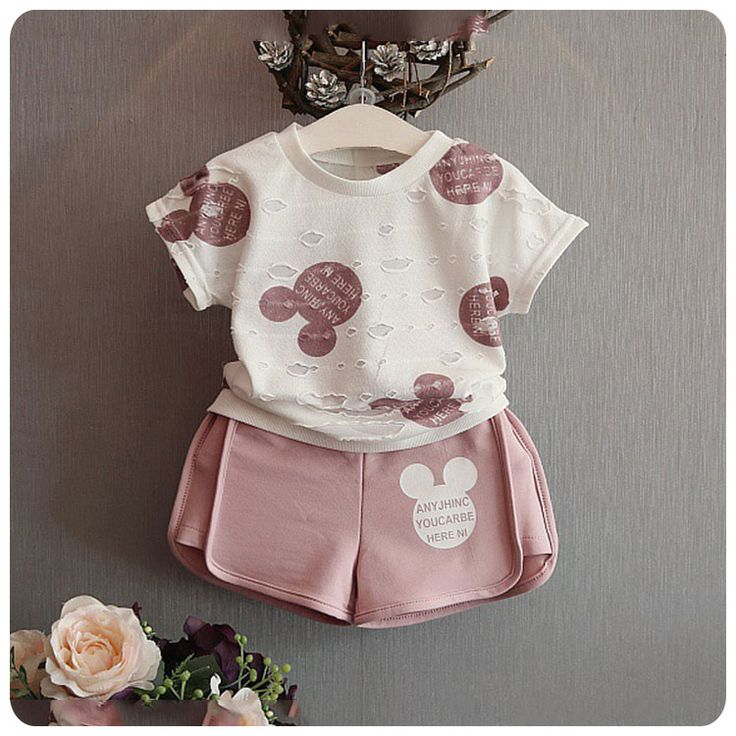 2016 new brand girls mickey sport suit cartoon clothing set ripped white shirt with shorts for kids and chidlren clothing-in Clothing Sets from Mother & Kids on Aliexpress.com | Alibaba Group