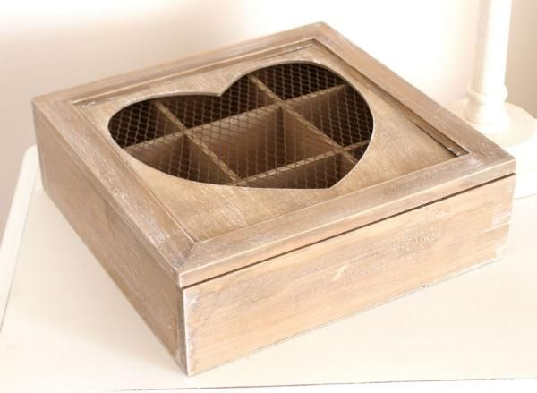 Tea Box - 9 Compartment Limewash Wooden Tea Box with Heart Shape Frame & Wire Lid