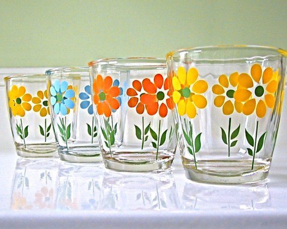 Vintage flower-themed sour cream glasses - apparently all over the place on eBay, and would be so great to build a mis-matched set