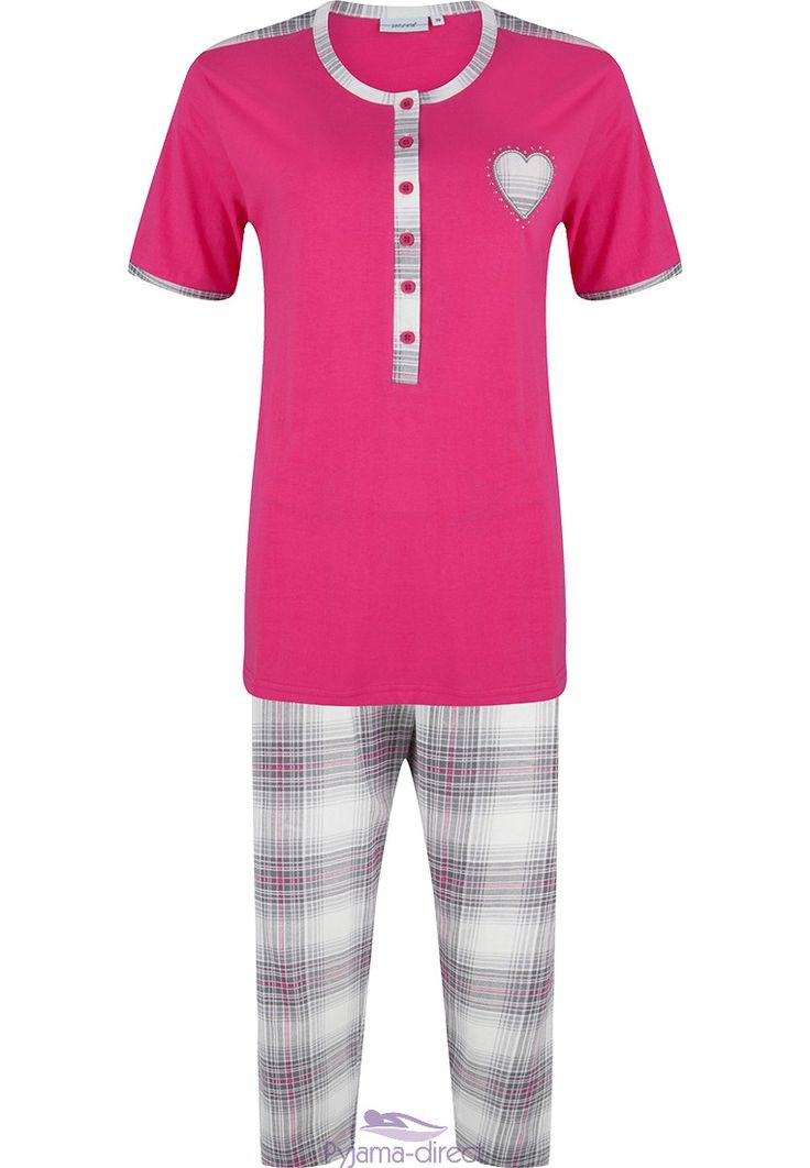 "Relax in style & comfort in this pinky-red ""checkered diamanté heart"" short sleeved  cotton pyjama set with buttons"