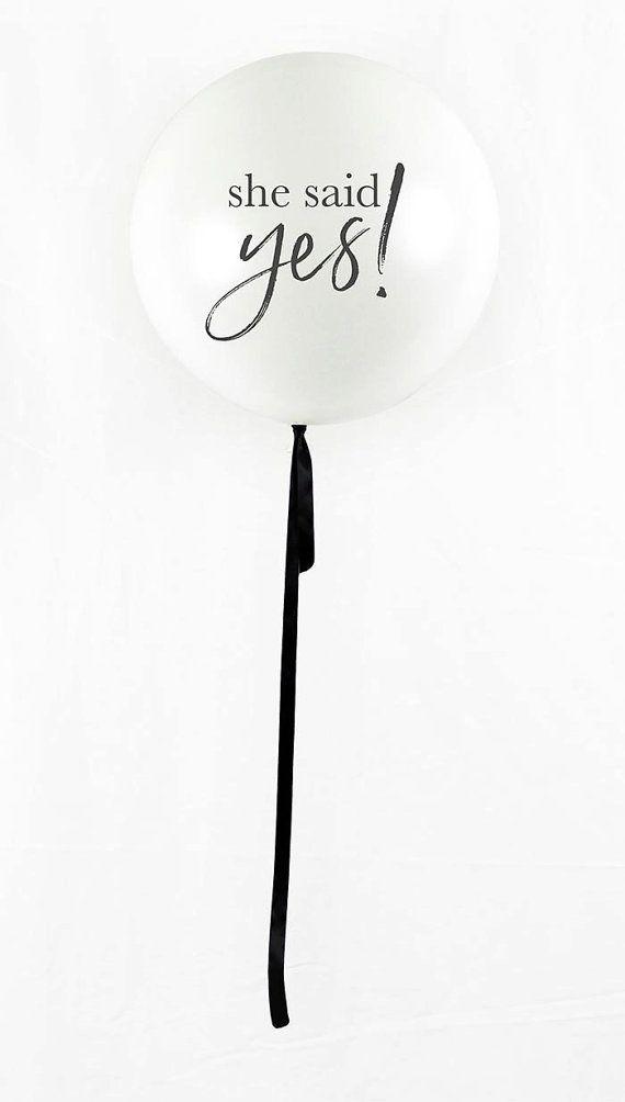 Giant White she said yes Party Balloon by balloonsmaketheparty