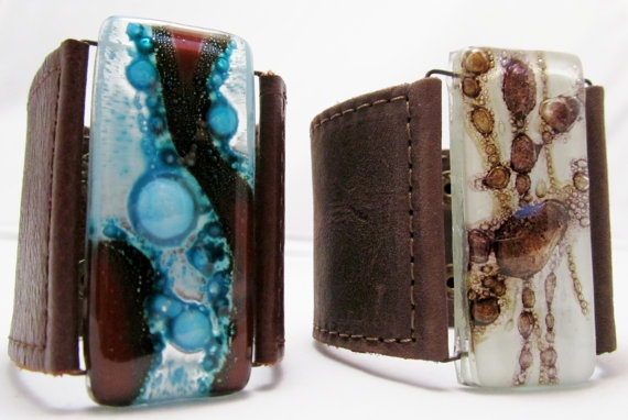 Bracelets+Leather+and+fused+glass+cuff+with+fused+by+CarliBruno,+$48.00