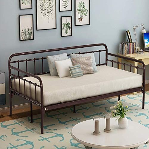New HOMERECOMMEND Metal Daybed Frame Twin Steel Slats ...