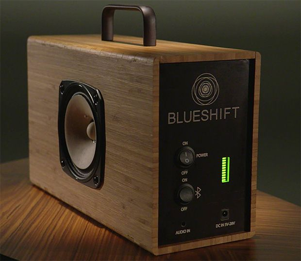 Blueshift Helium: Supercapacitor-powered Portable Speaker This is not your run-of-the-mill portable plastic speaker. Not even close. It's encased in bamboo and powered by a super-capacitor (which is tech-talk for a better battery; one that charges up the speakers in 5 minutes and then plays at full volume for 6 hours.