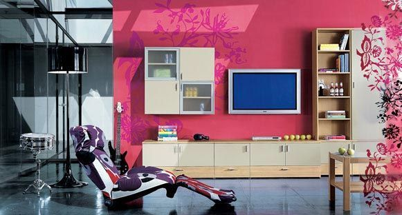 pink wall paint and contemporary living room furniture in techno ...