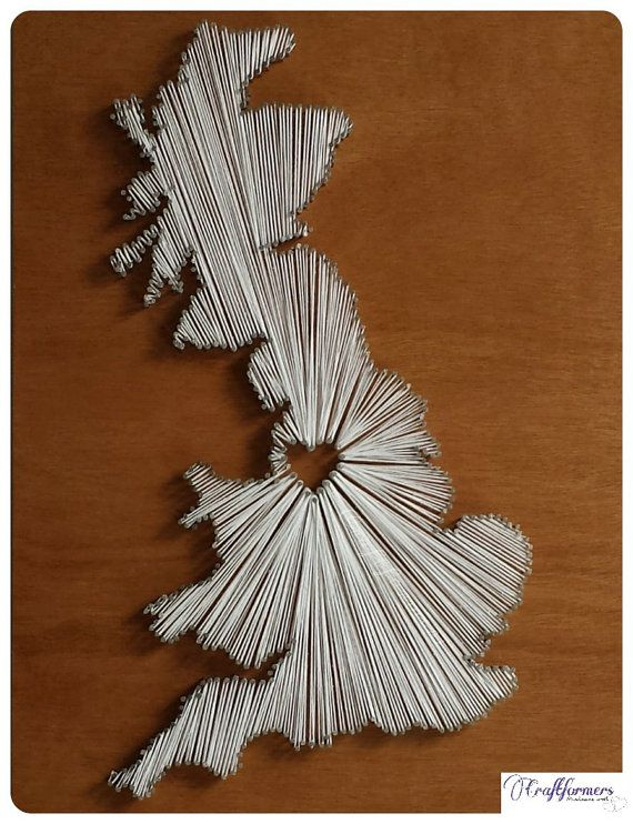 41 best string art images on pinterest nail string art string a unique handmade and personalised united kingdom british map string art prinsesfo Images