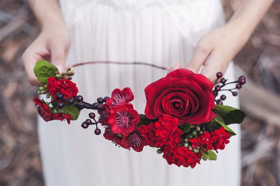 Red flower crown, red floral crown, silk flower crown, bridal headpiece, wedding…