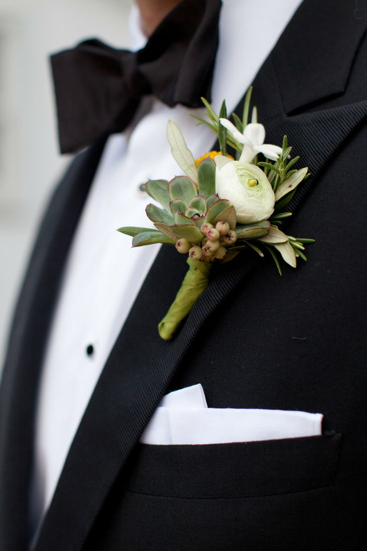 Succulent Boutonniere | On SMP: http://www.stylemepretty.com/virginia-weddings/charlottesville/2013/11/27/art-deco-inspired-charlottesville-wedding-from-morgan-trinker | Morgan Trinker Photography