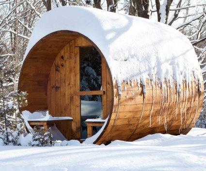 8' Six Person Nordic Pine Outdoor Barrel Sauna w/ Sauna Heater. $5,750.00, via Etsy.